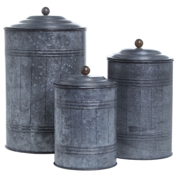 Galvanized canisters set of 3 industrial for Kitchen set industrial