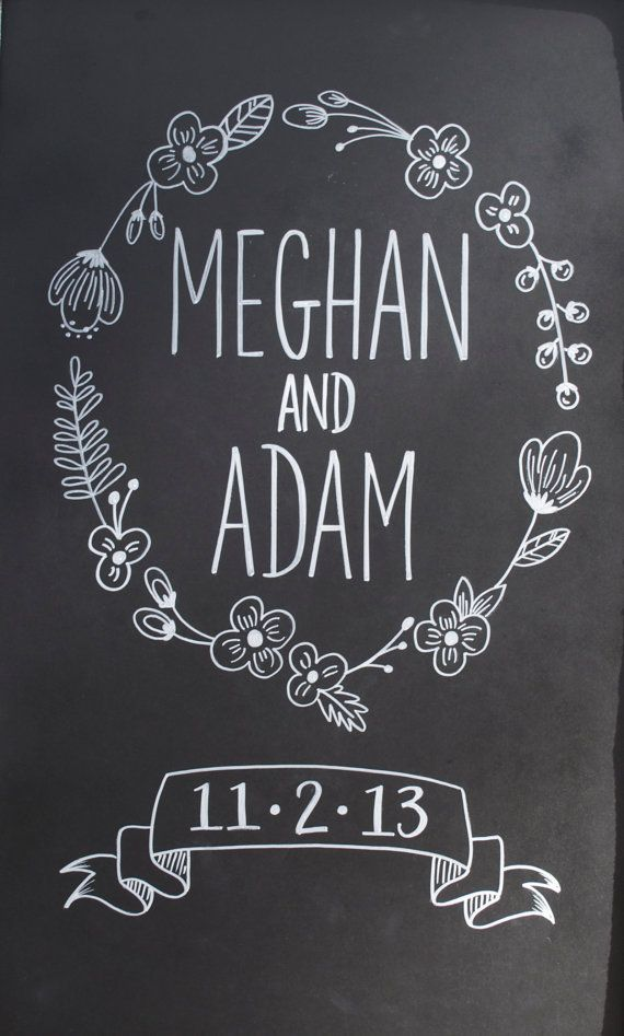 hand drawn chalkboard wedding sign anniversary gift custom design chalk - Chalkboard Designs Ideas
