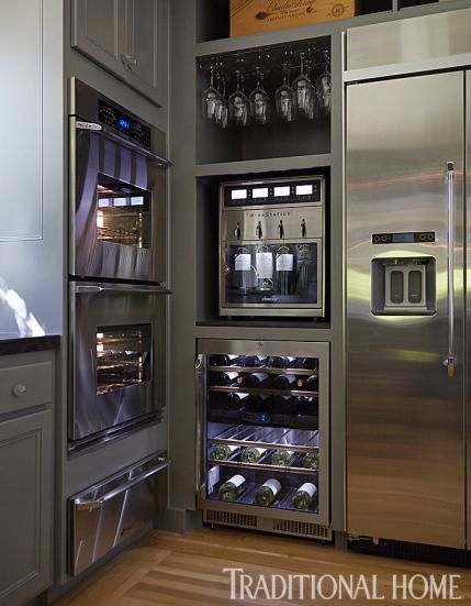 The Napa Valley house is on the estate of a winery so, of course, the kitchen caters to wine lovers. An undercounter wine cooler keeps wine handy with five pullout racks that store 53-plus bottles. Temperature in the unit is adjustable. Above the cooler is the WineStation, also from Dacor, which preserves and dispenses wine from open bottles.