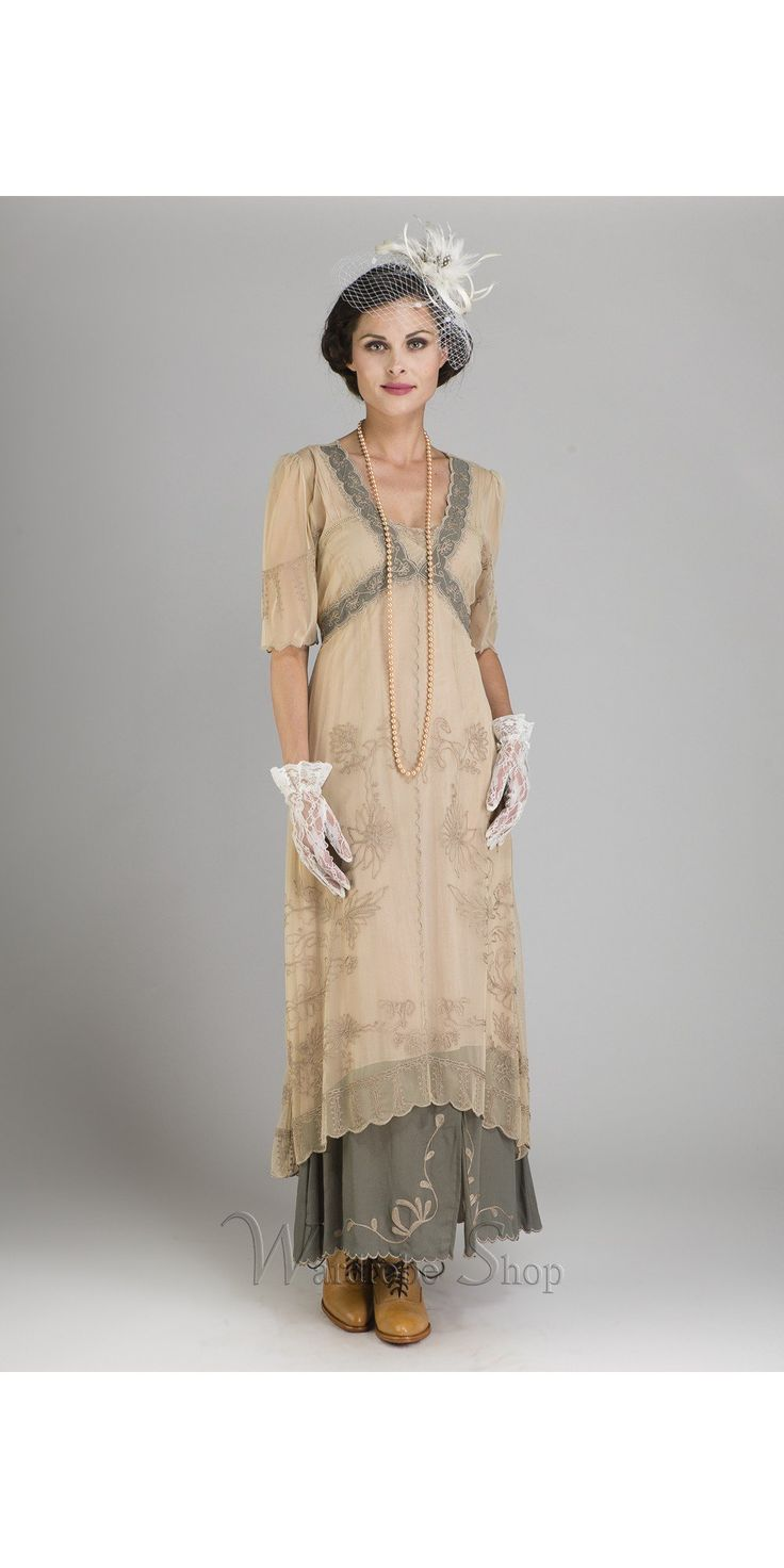 New Vintage Titanic dress in sage, beautinful Nataya dress for vintage inspired parties, informal bridal wear