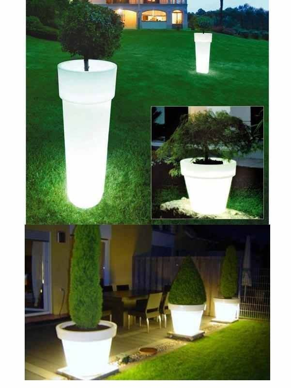 Glow in the dark. Illuminated plant pot. Leuchtende Blumentöpfe