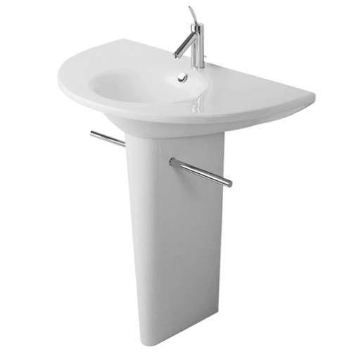 duravit d16013 d16014 starck 1 35 1 2 single hole washbasin with pedestal base d duravit. Black Bedroom Furniture Sets. Home Design Ideas