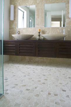 Master Bath - Maybe do some sort of floating vanity?? -Island Stone random pebble floor - modern - bathroom tile - other metro - Island Stone