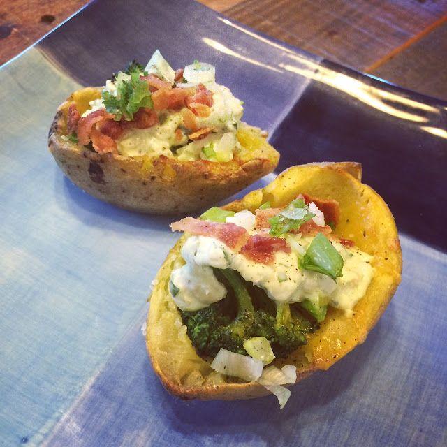 Recipe for Potato Skins with Broccoli, Cheddar, and Avocado Cream.. so ...