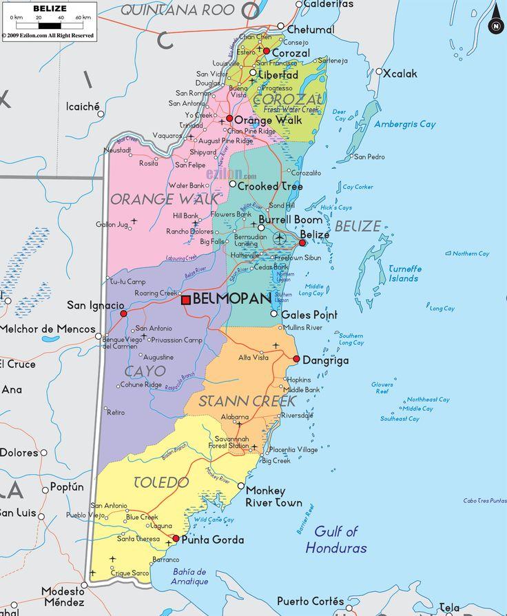Political Map Of Belize Ezilon Maps