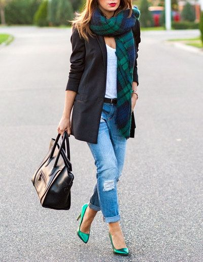 Green and Blue Tartan Blanket Scarf Oversized by HouseofBrooke ༺✿Teresa Restegui http://www.pinterest.com/teretegui/✿༻