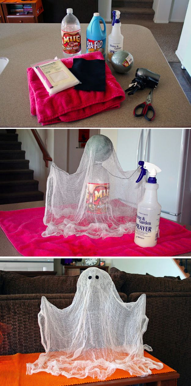 Halloween decorations Make the shape with bottle, ball and wire. Drape over cheesecloth and spray with starch. Once dry remove supports. So clever!