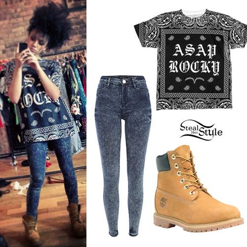 Love the Timberlands and acid wash jeans! I would probably wear a red shirt or something