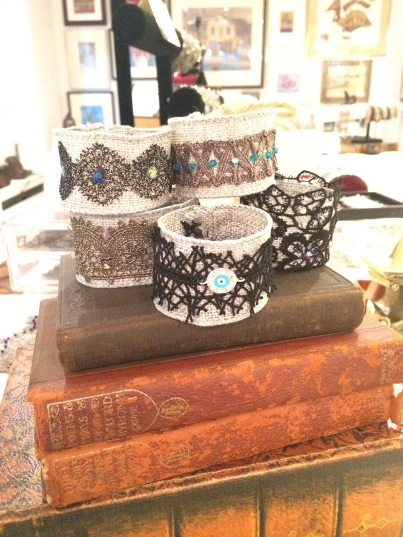 Burlap and Metallic Lace Bracelets with by SapphoByKimSmiley