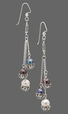 Jewelry-Making Project: #Earrings with Cultured Freshwater Pearls and Antiqued Sterling Silver Bead Caps. #DIYjewelry #jewelry