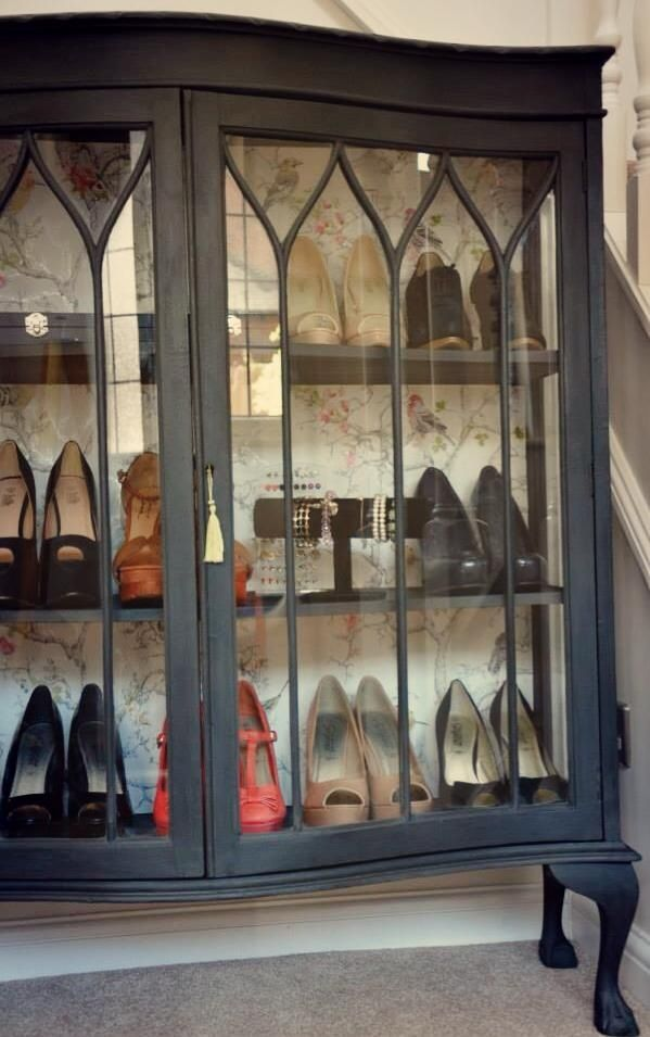 My beautiful shoe cabinet display. That holds all my favourites and also my jewellery and Alex Monroe necklaces. Painted in Annie Sloane Graphite and Ornithology paper from B&Q designed and up cycled by Bella G Vintage.  https://www.facebook.com/pages/Bella-G-Vintage/563402740365118?ref=ts&fref=ts