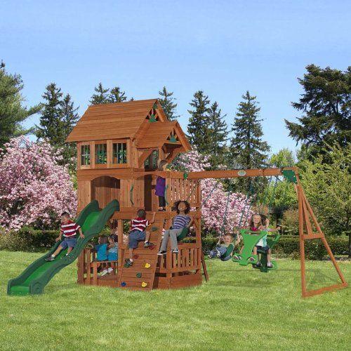Viewalongtheway Backyard : 1100 Liberty Cedar Wood Outdoor Playset in Brown Backyard Discovery