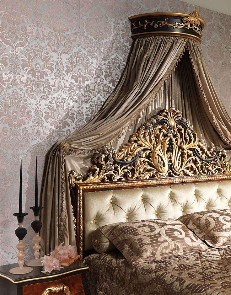 Classic Louis XV bedroom emperador black | Vimercati Classic Furniture