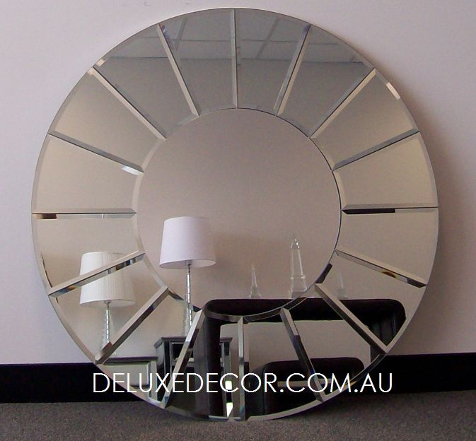 Elegant Round Frameless Glass on Glass Wall Mirror 4521 (900 x 900 mm) http://deluxedecor.com.au/products-page/wall-mirrors/elegant-round-frameless-glass-on-glass-wall-mirror-4521-900-x-900-mm/