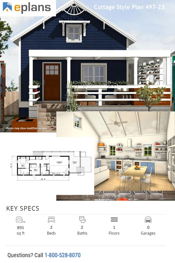Cottage Style House Plan 2 Beds 2 Baths 891 Sq Ft Plan 497 23