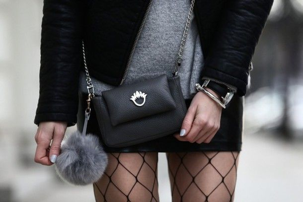 Fall Looks :      Picture    Description  Bag: tumblr black crossbody chain mini  accessoires fur keychain skirt mini skirt tights fishnet    - #Fall https://looks.tn/season/fall/fall-looks-bag-tumblr-black-crossbody-chain-mini-accessoires-fur-keychain-skirt-mini-skir/