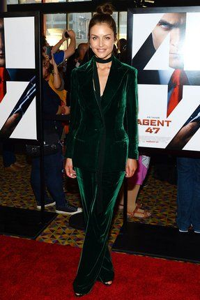 """<strong>HANNAH WARE</strong><p>We imagine Eddie Redmayne, who's absolutely no stranger to <a href=""""http://www.vanityfair.com/style/photos/2015/08/eddie-redmaynes-best-blues"""">velvet</a>, would be a very big fan of this green-machine suit. </p>"""