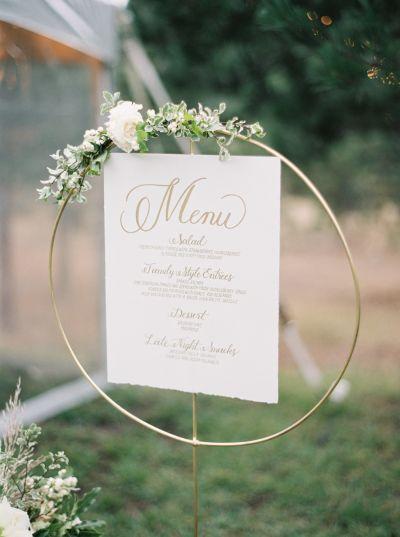 Modern menu stand: http://www.stylemepretty.com/2016/08/10/best-fall-wedding-color-palette/ Photography: Rebecca Hollis - http://rebeccahollis.com/