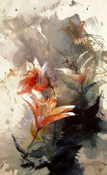 "Lars Eje Larsson/""Red Lilys"" 56 x 35 cm, watercolor"