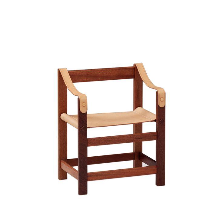 Barnbarn barnstol - Barnbarn barnstol - läder natur, mahognystativ