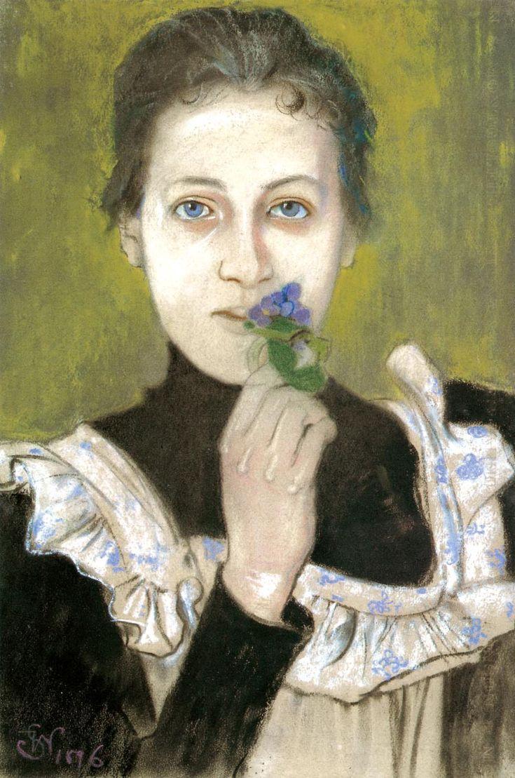 Stanisław Wyspiański, Girl with Violets, 1896