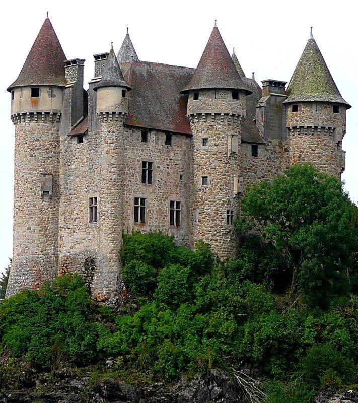 Medieval Castle, Château d'Anjony, Cantal, Auvergne, France
