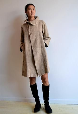 Pipsqueak Chapeau's Truffle Coat 100% Heavy Raw Linen Made in Brooklyn