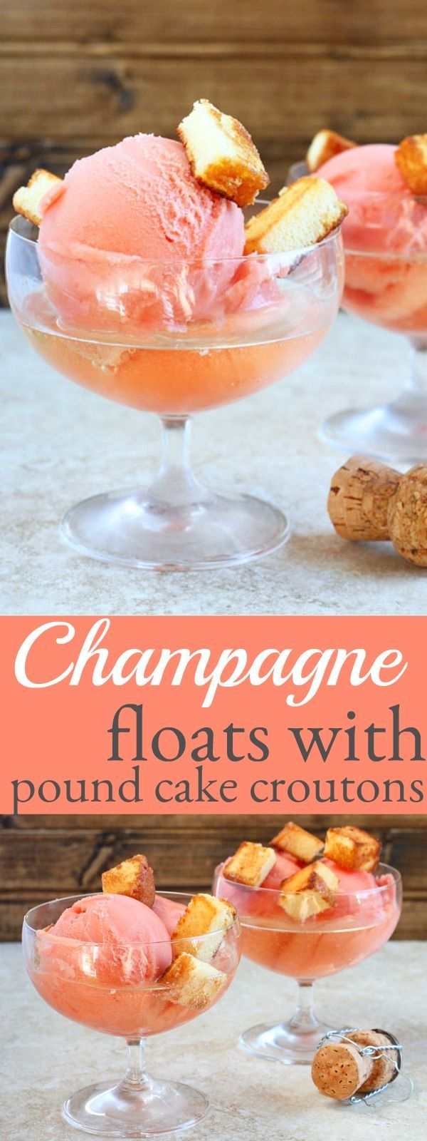 Champagne floats with pound cake croutons for your New Years Eve celebration. Festive holiday desserts with champagne. Sparkling wine floats. Champagne desserts.