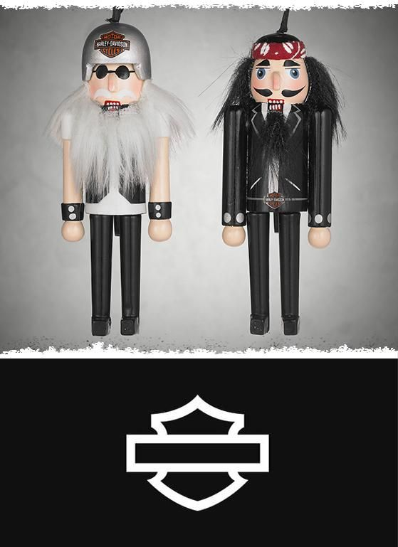 Hand painted with decal graphics and details like helmet, shades, beard, and more.   Harley-Davidson Set of Nutcracker Ornaments