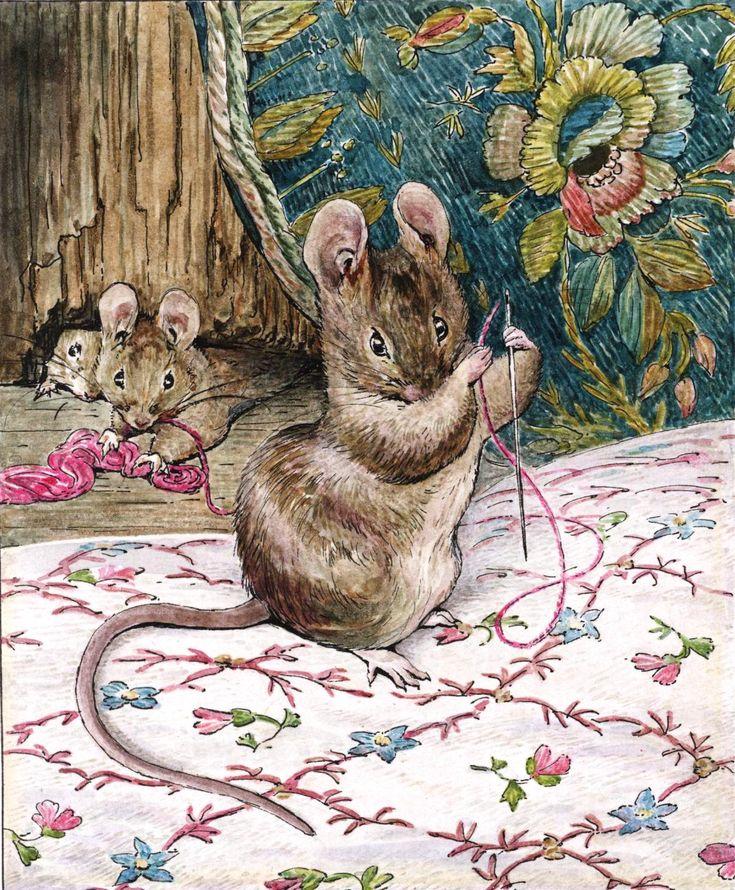 Поздравление, мышка на открытке