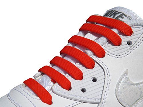 From 2.99 Elastic Silicone No Tie Anchor Shoe Laces Pk Of 16pcs For Adults Shoes Trainers (red)