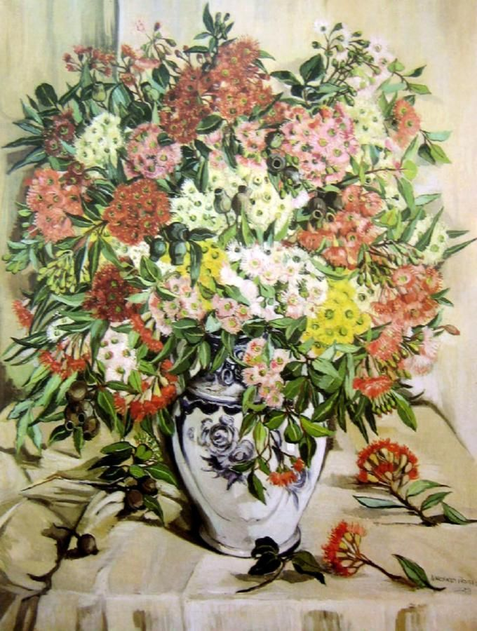Still Life with Gum Blossoms in a Blue and White Vase