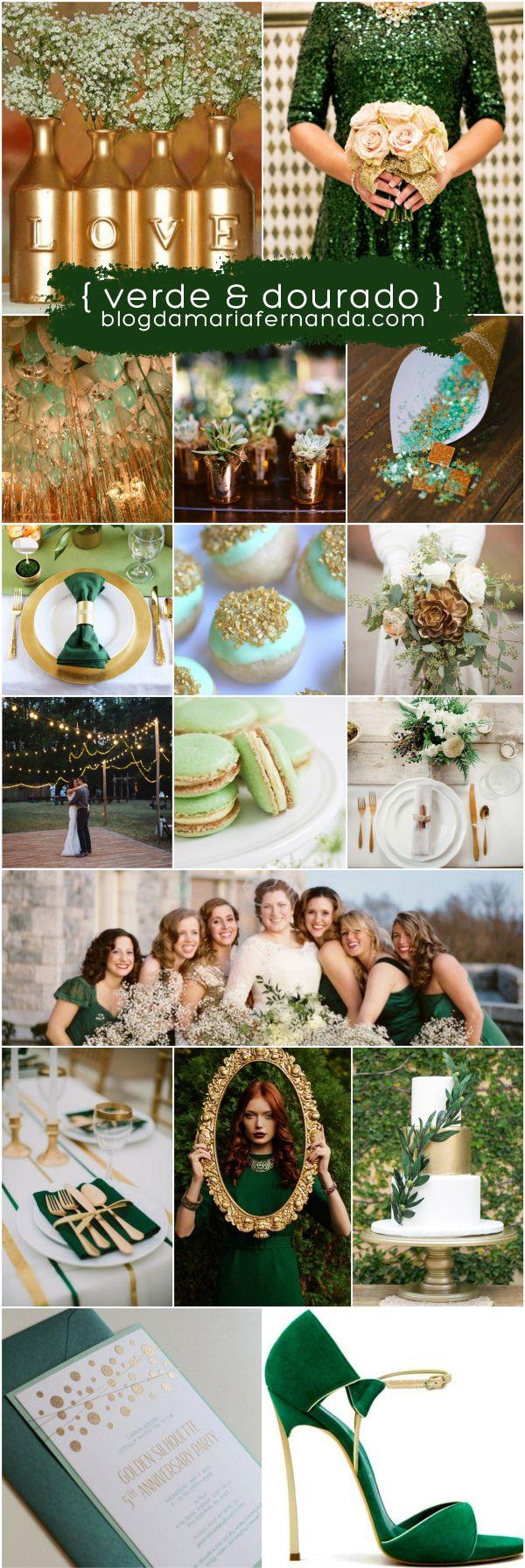 Decoração de Casamento : Paleta de Cores Verde e Dourado   http://blogdamariafernanda.com/decoracao-de-casamento-verde-e-dourado