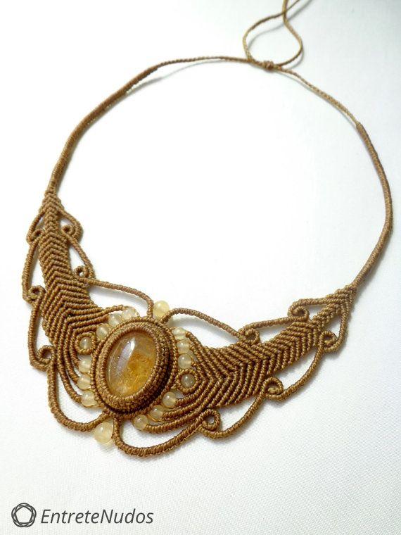 Collier macramé artisanale belle avec belles pierres Citrine et perles en pierre calcite jaune