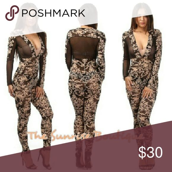 Brand New Floral Mesh Jumpsuit Bodycon Mesh Insert... Brand New bodycon jumpsuit... Great stretch... Currently being sold at boutique  Available in Small, Medium, large Pants Jumpsuits & Rompers