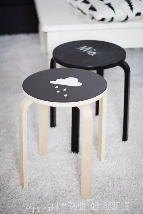 DIY Chalkboard painted stools