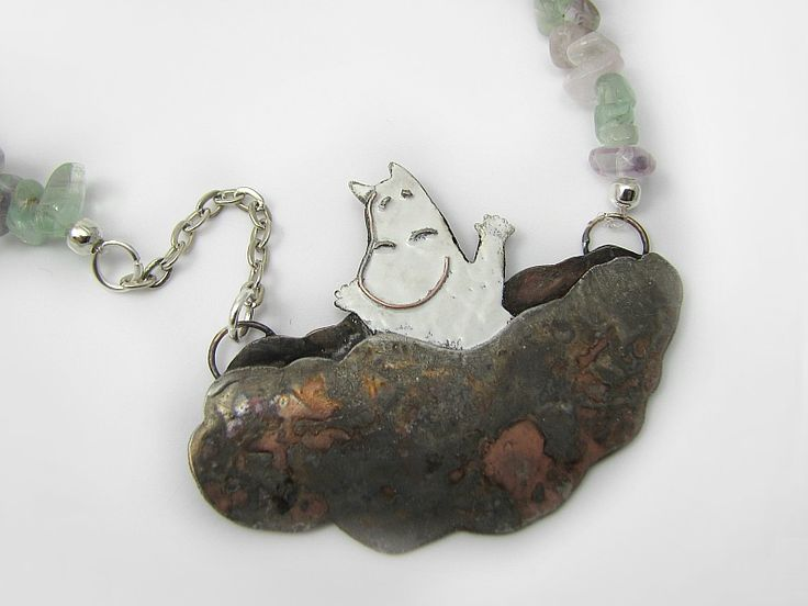 Moomin - necklace Muminki się cieszą... naszyjnik z metaloplastyki w Sztuk_Kilka_Silver na DaWanda.com