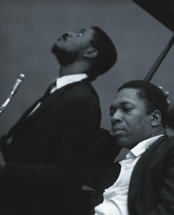 John Coltrane with Pharoah Sanders, Van Gelder Studio, Englewood Cliffs, NJ 1966. Photo by Chuck Stewart.