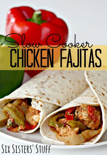 women coat Slow Cooker Chicken Fajitas on SixSistersStuff com   throw in all the ingredients and let it cook  Turned out awesome