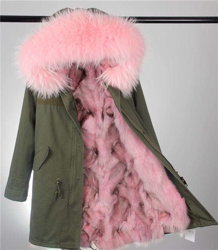 Kürklü Parkalar Kadınlar için Kış Ordu Yeşil Kaplanmış Ceket Büyük doğal gerçek kürk Yaka Kalın Ceket Üst Giyim Kadın Kar Giyim Markası
