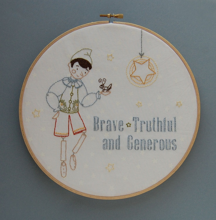 Real Live Boy Embroidery PDF Pattern from SeptemberHouse with stitch and color guide, Free, click link in second paragraph