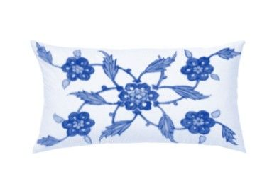 Blue and White Star Flower Throw Pillow by Castara Designs. Our new Iznik inspired range of decorative cushions for 2016. Launching at Pulse London