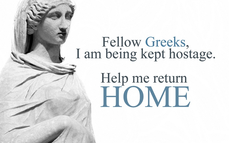 I AM GREEK AND I WANNA GO HOME independent movement for repatriation of the Greek Sculptures.  Photography, Concept and Artwork by Ares Kalogeropoulos