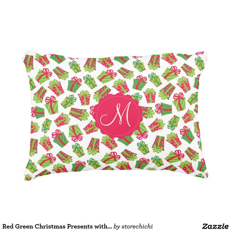 Red Green Christmas Presents with ribbons monogram