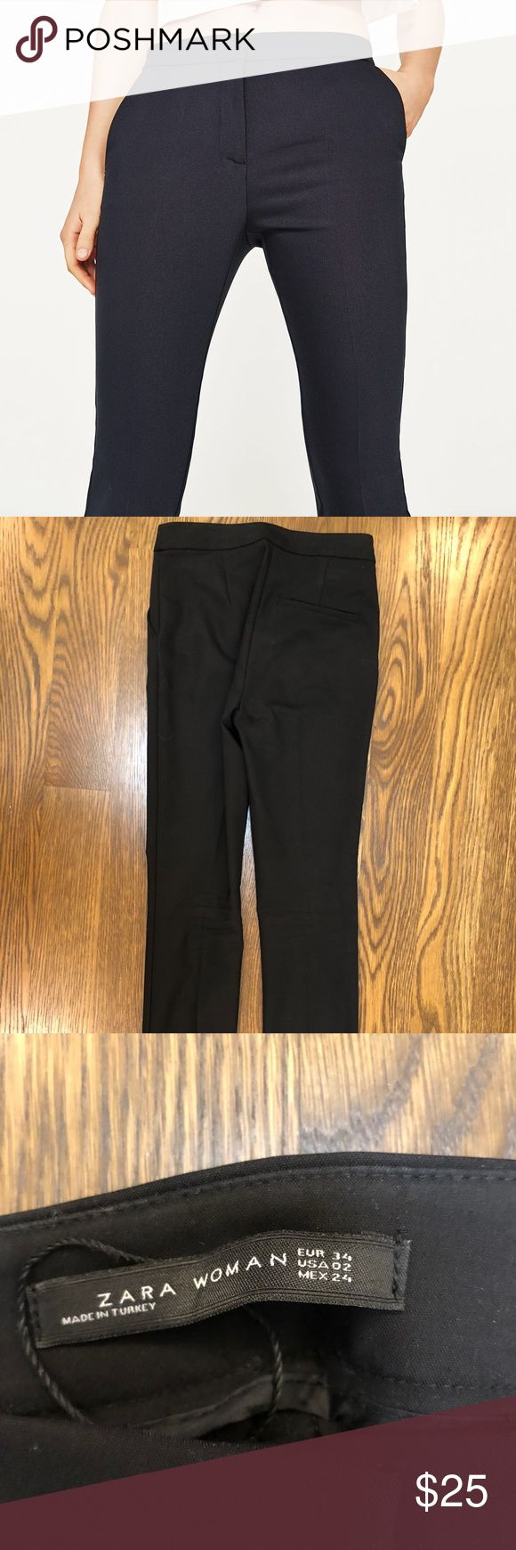 Zara Woman black slim trouser size 2 Slim cut straight leg black trousers to ankle. Great pant for work or night out with a sexy top. Worn only once. Zara Pants Trousers