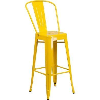 iHome Brimmes 30'' High Yellow Metal Indoor/Outdoor/Patio/Bar Barstool w/Back