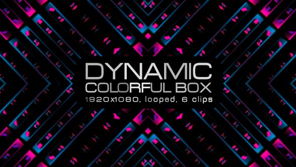 Dynamic Colorful Box Video Animation | 6 clips | Full HD 1920×1080 | Looped | Photo JPEG | Can use for VJ, club, music perfomance, party, concert, presentation | #3d #abstrac #box #colourful #cube #dance #disco #dynamic #glow #loops #party #pattern #spin #spinning #vj