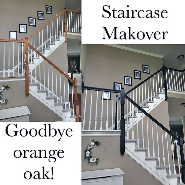 25 Pretty Painted Stairs Ideas: Lamp Black And Antique White Staircase Makeover