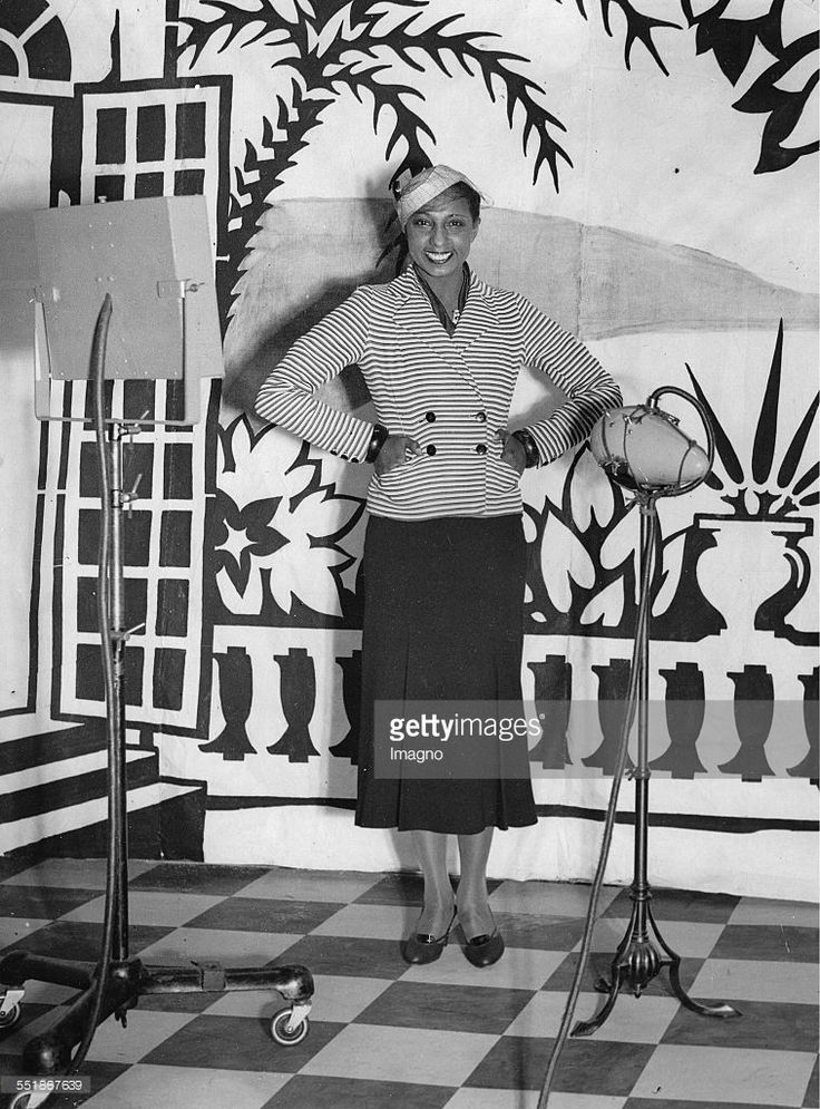 The dancer and actress Josephine Baker in British Broadcasting Corporation's studio. London. 2nd October 1933. Photograph.