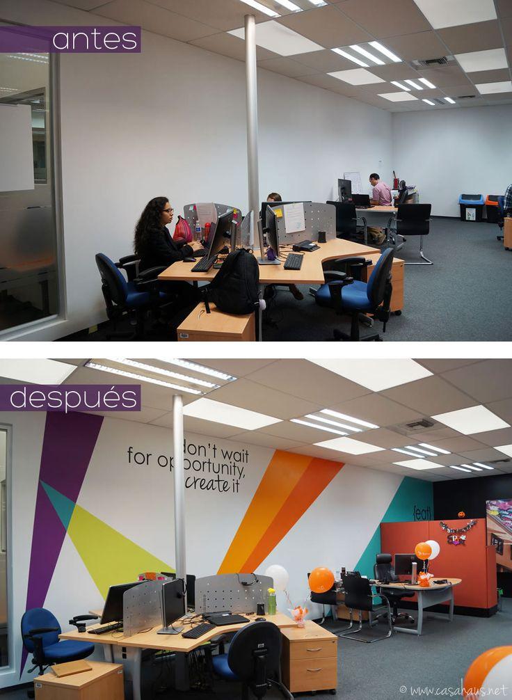 BMC Software corporate office design (paint and decal only makeover) / Transformación de oficinas con sólo pintura y viniles por Casa Haus Deco